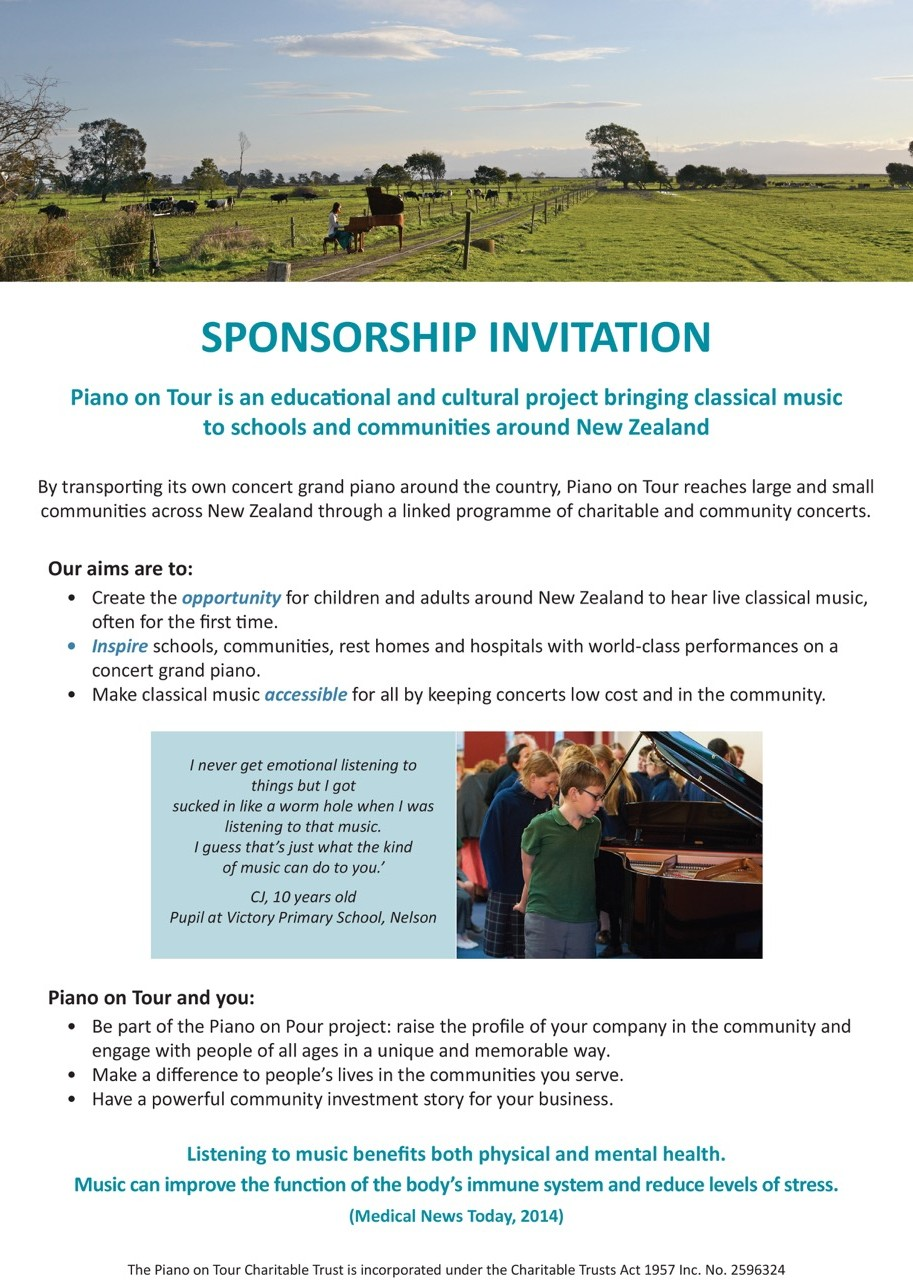 Piano on Tour Sponsorship Invitation